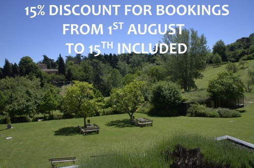 15% DISCOUNT FOR BOOKINGS FROM 1ST AUGUST TO 15TH INCLUDED